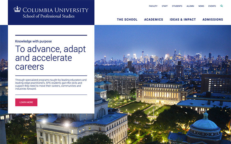 Columbia University School of Professional Studies desktop site screenshot