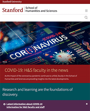 Stanford School of Humanities and Sciences tablet site screenshot