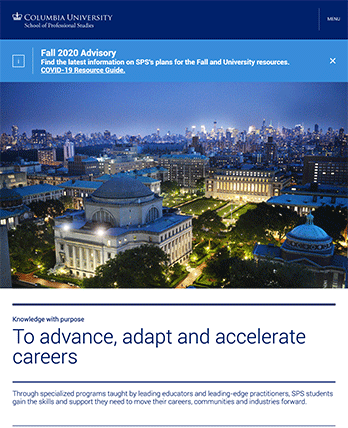 Columbia University School of Professional Studies tablet site screenshot