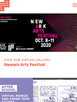 The Newark Museum of Art tablet site screenshot