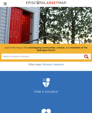 Episcopal Relief & Development tablet site screenshot